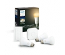 Pachet 3 becuri inteligente LED Philips HUE, Bluetooth/Wireless, E27, 9W, 806 lm, ambianta alba + Br